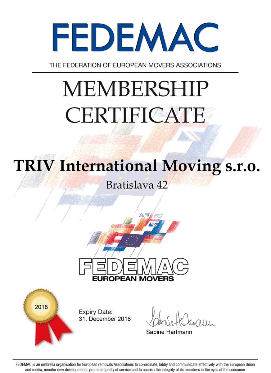 FEDEMAC Membership Certificate 2018 - TRIV Intl_Bratislava